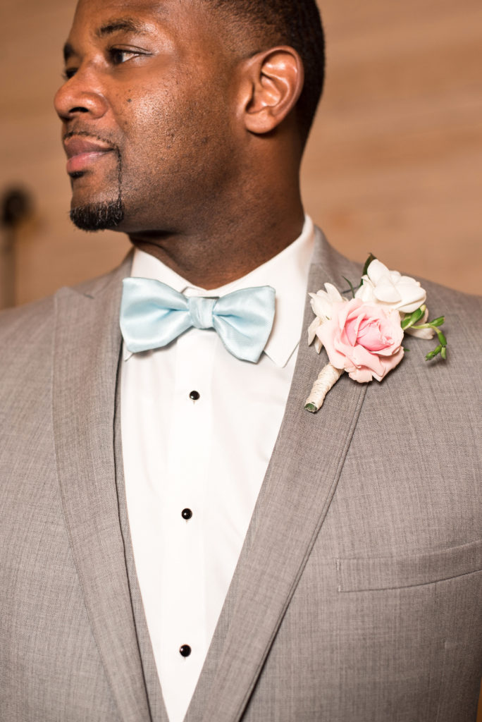 Blue Bow Tie with Tan Suit