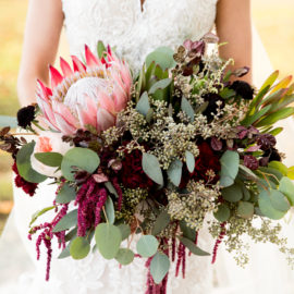 King Protea - Deep Red and Green Bouquet