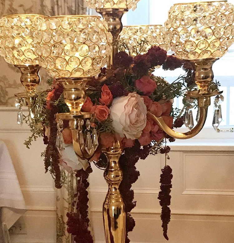 Gold Candelabra - Deep Orange Roses