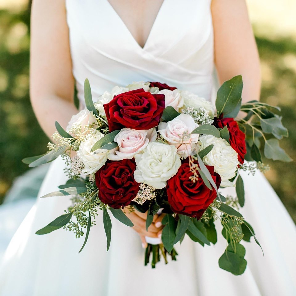 Deep Red and White Bridal Bouquet