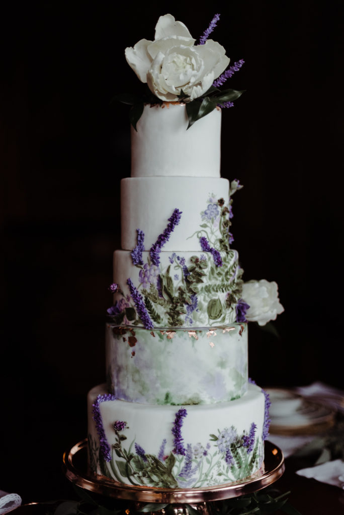 Purple Floral Wedding Cake - Cake Decorating Day