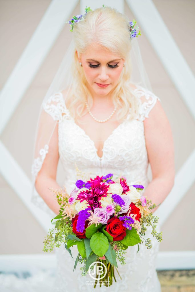 Beautiful Bride - Purple, Red and White Bouquet