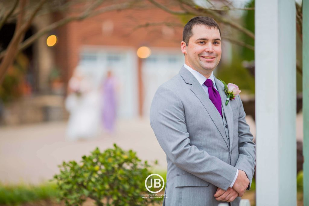 Groom - Grey Suit with purple tie