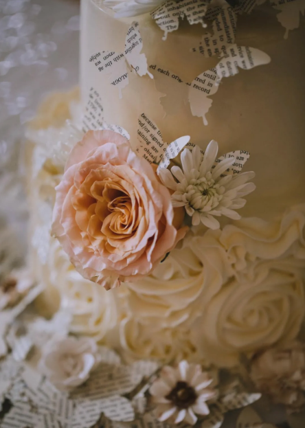 Paper Butterflies and Flowers - White wedding cake