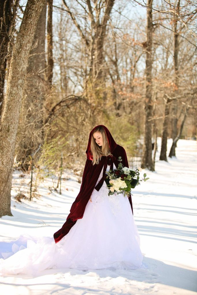 Red Velvet Cape - Lace Wedding Gown - Winter Wedding