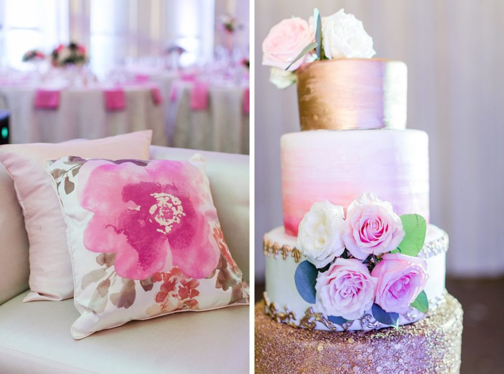 Modern Glam Wedding - Pink & Gold Wedding Cake