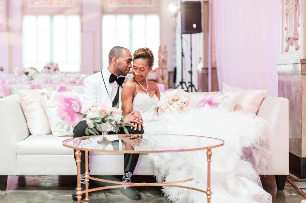 Modern Glam Wedding - Ostrich Feather Wedding Dress