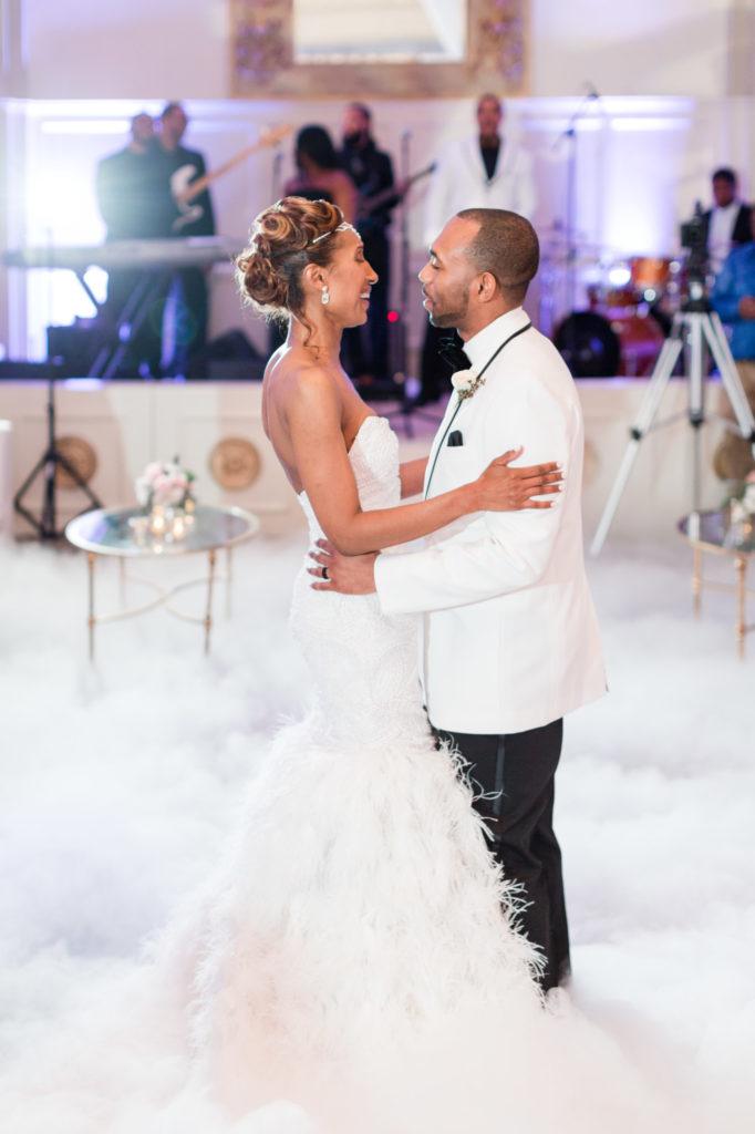 Modern Glam Wedding - Ostrich Feather Wedding Dress First Dance