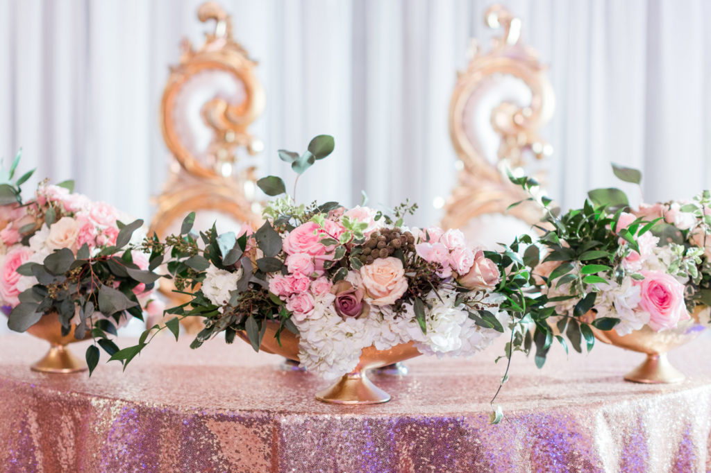 Modern Glam Wedding - Black Tie Affair Pops of Pink Sweetheart Table