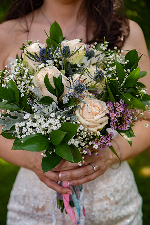 Ivory and Purple Bridal Bouquet