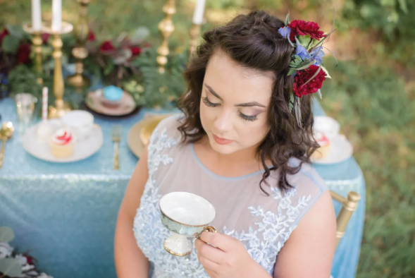 Teacup Wedding - Blue and Red