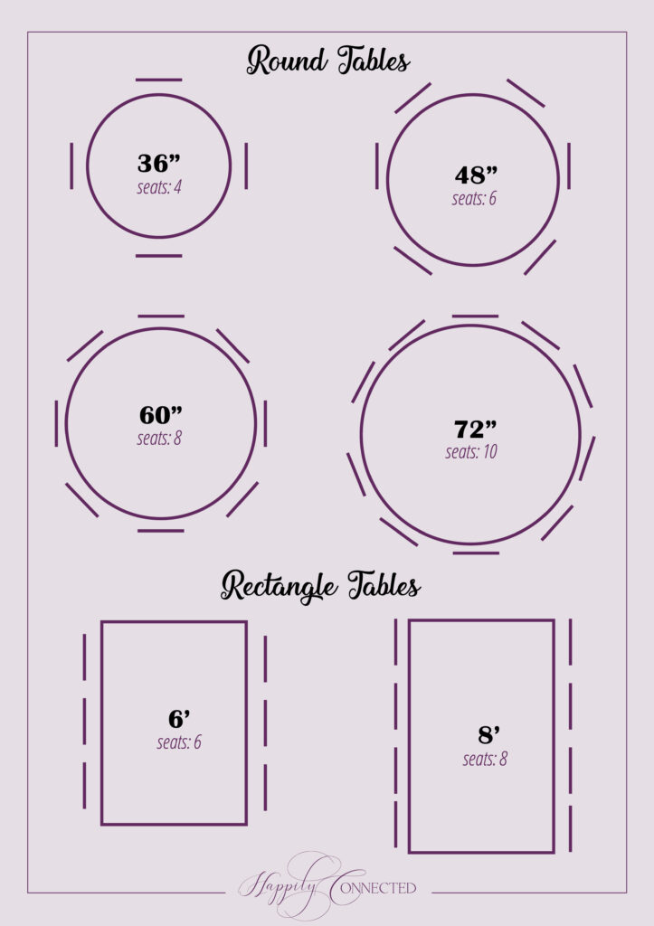 Wedding Planning Tools Table Sizes, Round Table Size For 8