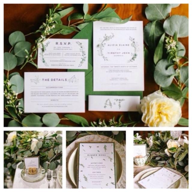 Green & White Wedding Invitations - paperKuts studio