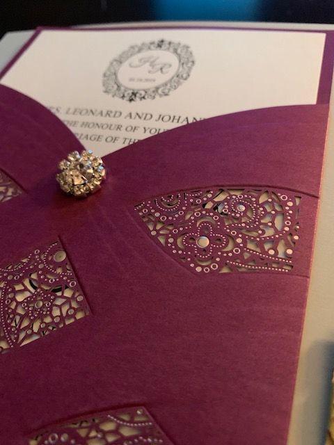 Burgundy Laser Cut Wedding Invitation - paperKuts studio
